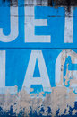 Blue jet lag sign graffiti painted on a wall in bilbao Stock Photos