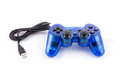 The blue joystick for controller play video game isolated of and on white background Stock Image