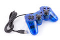 The blue joystick for controller play video game isolated of and on white background Stock Photos