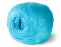 Blue knitting yarn clew on white background Stock Photo