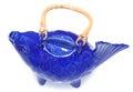 Blue koi fish tea pot over white Stock Photos