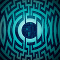 Blue labyrinth circle structure on tech backdrop illustration Stock Photos