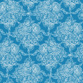 Blue lace flowers seamless pattern background vector elegant with hand drawn line art floral elements Stock Images