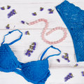 Blue lacy lingerie set with pearl necklace and nude shoes Royalty Free Stock Photo
