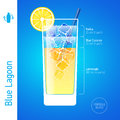 Blue lagoon cocktail set of cocktails infographics illustration Stock Images