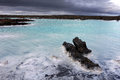 Blue lagoon iceland the is a man made pool and spa fed by the waste waters of a geothermal power plant in the lava fields near Stock Images