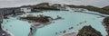 BLUE LAGOON, ICELAND - MAR 08: People bathing in The Blue Lagoon