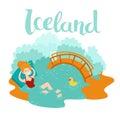 Blue lagoon Icelandic landmark vector icon