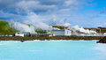 Blue lagoon and power station photo of Stock Images