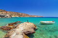 Blue lagoon of vai beach on crete greece Royalty Free Stock Images