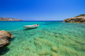 Blue lagoon of vai beach on crete greece Royalty Free Stock Photography