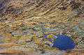 The blue lake as seen from the mountain top a beautiful in fagaras mountains romania is of Royalty Free Stock Photo