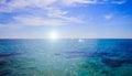 Blue landscape background sea surface backlit morning light