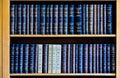 Blue Law Books in Bookshelf Royalty Free Stock Photo