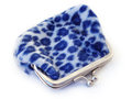 Blue leapard coin purse a small with leopard spots Royalty Free Stock Photography