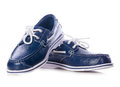 Blue leather deck shoes Royalty Free Stock Image