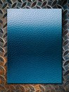 Blue leather texture on grunge steel plate Royalty Free Stock Photo