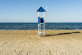 Blue lifeguard hut beach Royalty Free Stock Photos