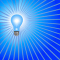 Blue Light Bulb Background Rays Royalty Free Stock Photo