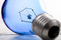 Blue light tungsten bulb. Royalty Free Stock Photo