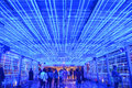 Blue light tunnel on bts sky walk bangkok thailand Stock Image