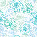 Blue line art flowers seamless pattern background vector elegant with hand drawn floral elements Stock Images