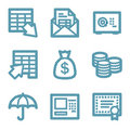 Blue line banking icons Royalty Free Stock Photo