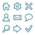 Blue line basic web icons Royalty Free Stock Image