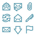 Blue line e-mail icons Royalty Free Stock Photo