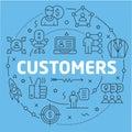 Blue Line Flat Circle illustration customers