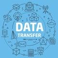 Blue Line Flat Circle illustration data transfer