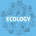 Blue Line Flat Circle illustration ecology