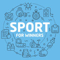 Blue Line Flat Circle illustration sport for winners