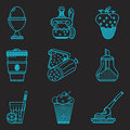 Blue line icons for breakfast menu set of flat on black background Royalty Free Stock Photography