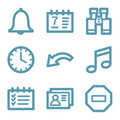 Blue line organizer icons Royalty Free Stock Photography