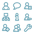 Blue line users icons Royalty Free Stock Photography