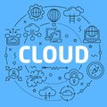 Cloud Blue Lines Illustration for presentation