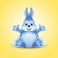Blue little funny bunny