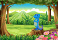 A blue lizard above the stump at the forest illustration of Royalty Free Stock Photos
