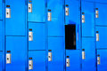 Blue lockers come in all sizes shapes and colors there is an open locker in this group Stock Images
