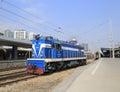 Blue locomotive Royalty Free Stock Photo