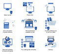 Blue logistics icons Royalty Free Stock Photo