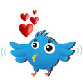 Blue love bird cute cartoon animal Stock Photo