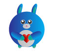 Blue love bunny a cute of Stock Photos