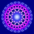 Blue Love Mandala - Circle of hearts