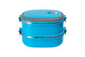 Blue lunch box isolated Royalty Free Stock Photo