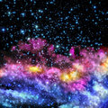 Blue and magenta nebula stars shine through the clouds of a new Stock Photo