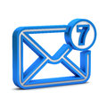 Blue mail icon with unread messages on a white background Stock Photos