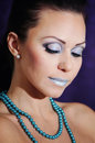 Blue makeup closeup Royalty Free Stock Photography