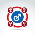Blue male and red female signs connected with arrows gender symbols group sex conceptual icon relationship concept Royalty Free Stock Photography